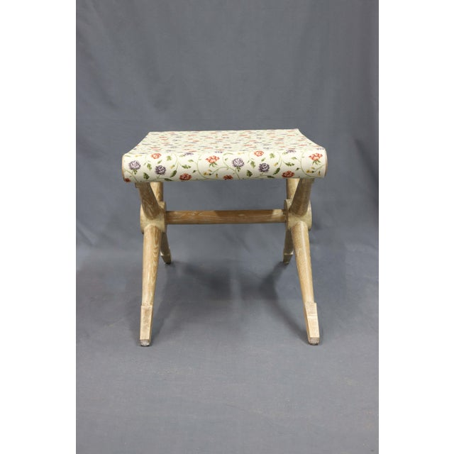 Traditional Late 20th Century Indigo and Red Flower Linen Camp Stool For Sale - Image 3 of 6