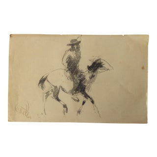 Man on a Horse by Henry Keller 1920s For Sale