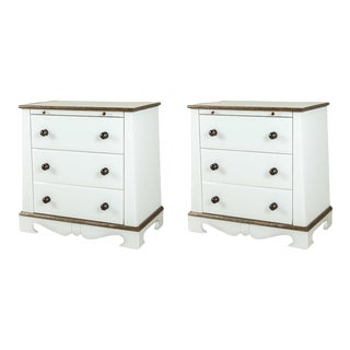 Paul Marra European Style Chests in Opaline Glass - a Pair For Sale