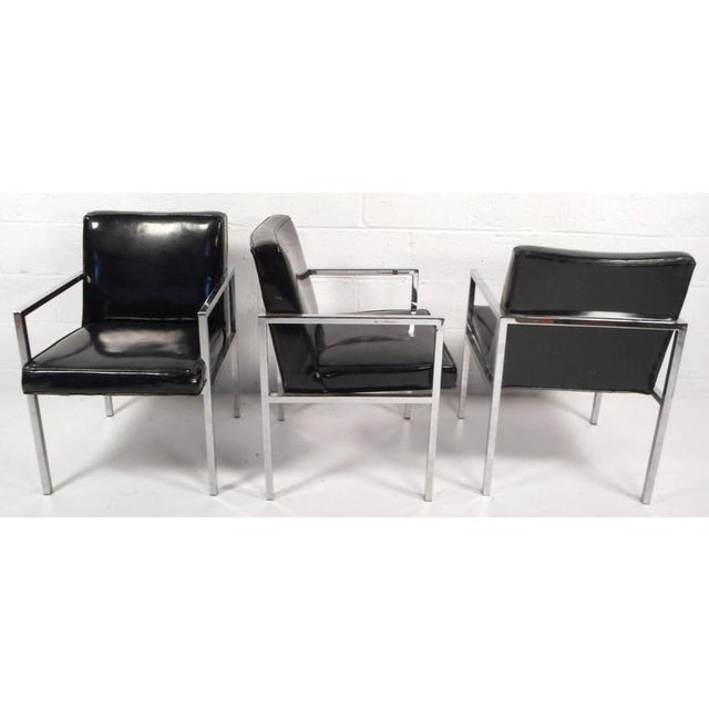 Silver Mid-Century Modern Vinyl and Chrome Dining Chairs - Set of 4 For Sale - Image 8 of 8