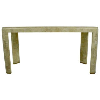 Maitland-Smith Tessellated Marble Console with Brass Inlay For Sale