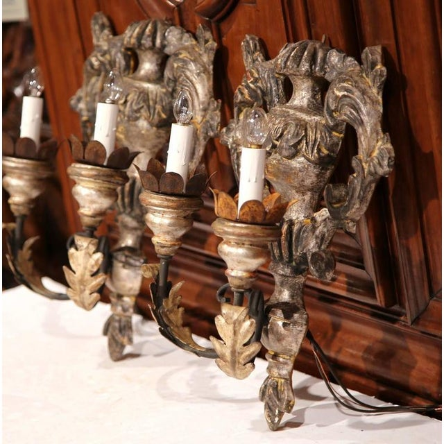 Italian Carved & Metal Two-Light Sconces - A Pair For Sale - Image 4 of 8