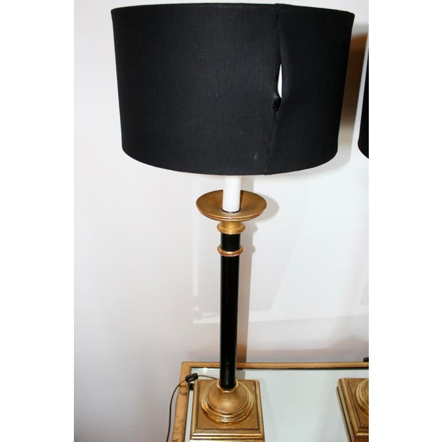 Black Vintage Curry Black & Gold Buffet Lamps - A Pair For Sale - Image 8 of 8
