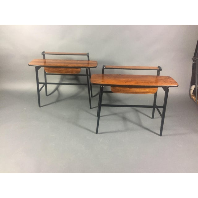 Pair of Italian 1970s Rosewood End Tables For Sale - Image 11 of 11