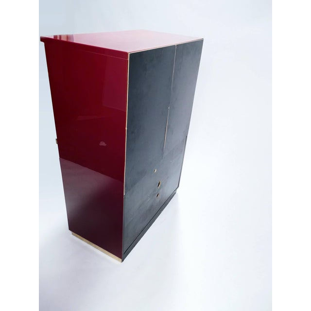 Red Lacquer and Brass Cabinet by j.c. Mahey, 1970s For Sale - Image 6 of 8