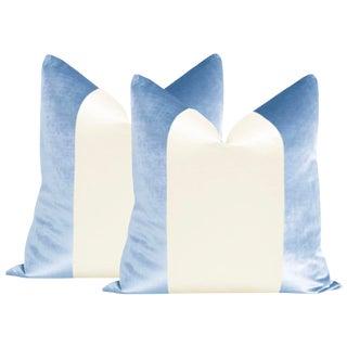"22"" Hydrangea Blue Velvet & Alabaster Silk Panel Pillows - a Pair For Sale"