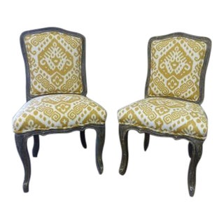 Country French Yellow Print Upholstered Side Chairs - a Pair