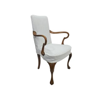 18th Century Antique Queen Anne Linen Slipcover Side Chair For Sale