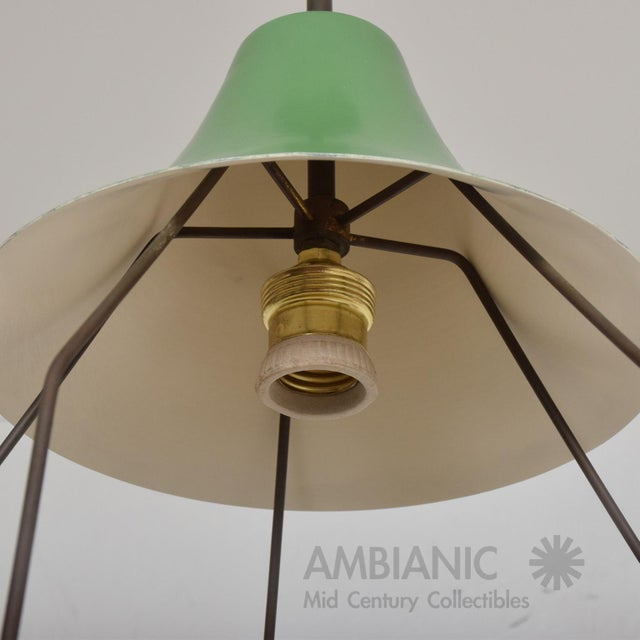 Metal 1950s Mid-Century Modern Pistachio Green Tiered Italian Chandelier Lamp, Italy For Sale - Image 7 of 11