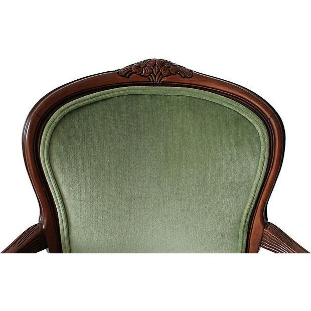 Upholstered Green Fauteuils - Pair - Image 6 of 10