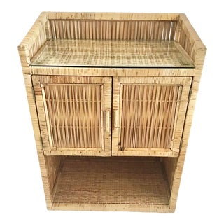 1960s Vintage Bielecky Brother Rattan Bar Cabinet For Sale