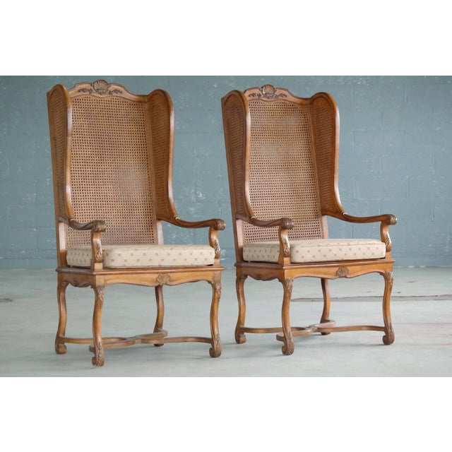 Pair of 1920s Hollywood Regency Cane Wingback Chairs For Sale - Image 10 of 10