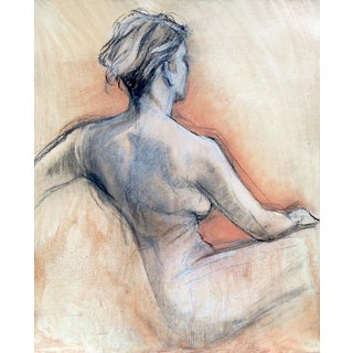 Original Mixed Media Drawing Female Figure Back 3 For Sale