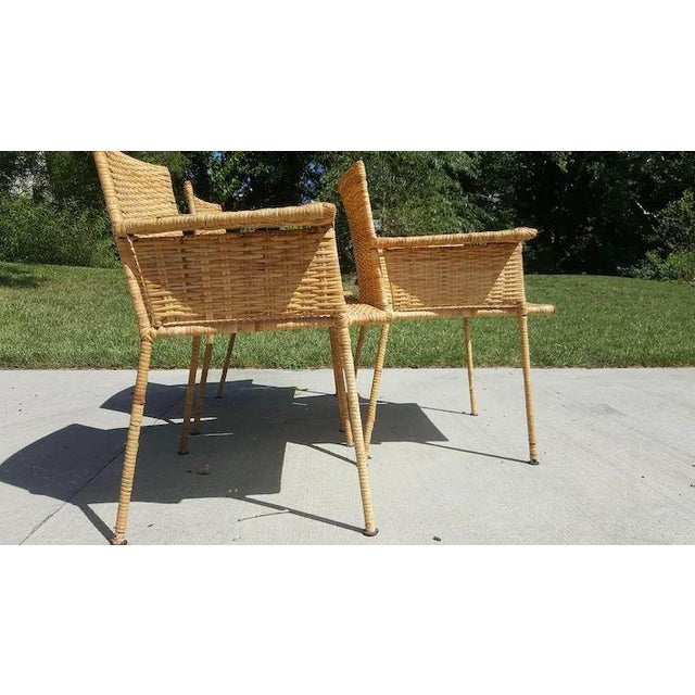 Van Keppel and Green Wicker and Wrought Iron Chairs - Set of 3 For Sale - Image 6 of 11