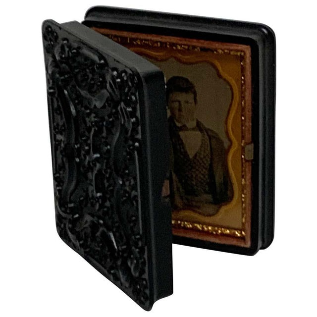 Brown 19th Century Ambrotype of a Young Male Student/ Writer, Gutta Percha Case For Sale - Image 8 of 8