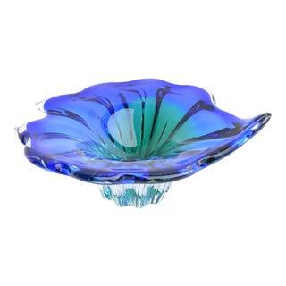Vintage Blue-Green Glass Bowl Designed by J. Hospodka, Chribska Sklarna, Czechoslovakia, 1960s For Sale