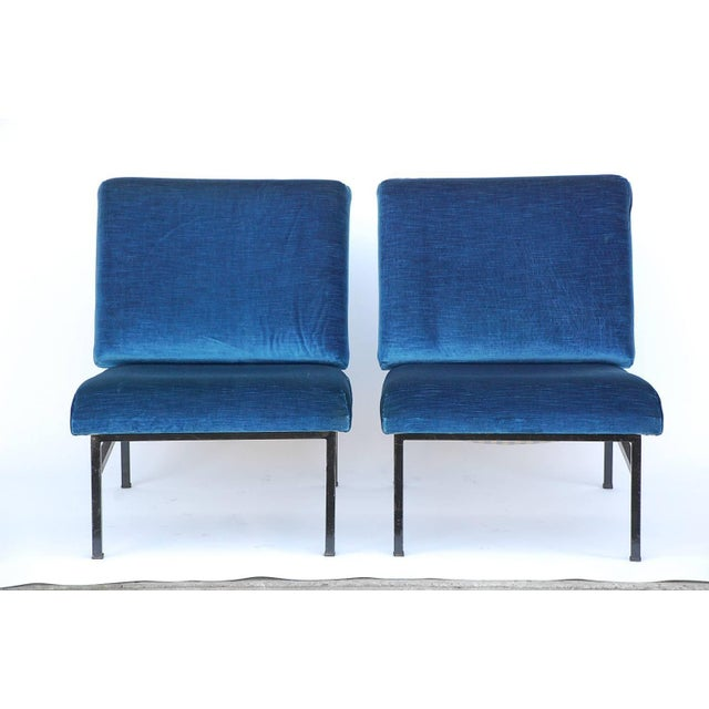Pair of 'Déclive' Velvet and Blackened Steel Slipper Chairs by Design Frères For Sale - Image 9 of 9