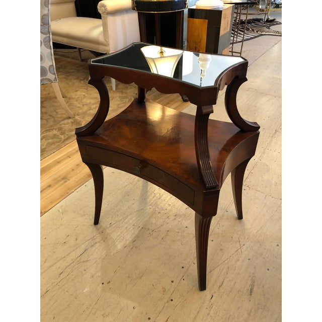 Very fine pair of two tier crotch mahogany bedside tables or end tables having single drawers in the bottom, lovely...