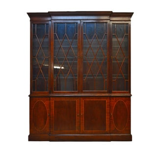 Baker Historic Charleston Mahogany Inlaid Breakfront China Cabinet For Sale