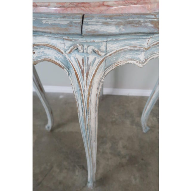 Pair of Painted French Louis XV Style Tables W/ Marble Tops For Sale - Image 9 of 10