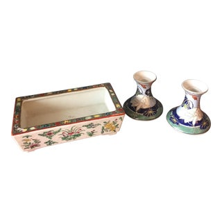 Asian Planter & Candle Holders - Set of 3