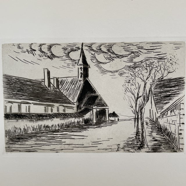 'L'Eglise' by Maurice de Vlaminck. Believed to be dry point etching from 1927. Mounted in folder from Parisian gallery....