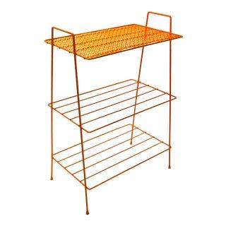 Mid-Century Modern Orange Metal 3-Tier Shelf   Plant Stand   Book Shelf   Record Stand For Sale