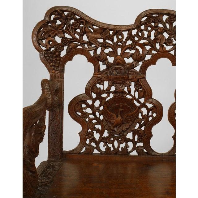 Asian Asian Burmese Style Carved Teak Triple Filigree Back Loveseat For Sale - Image 3 of 5
