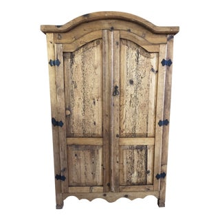 Vintage Rustic Organic Pine & Iron Mexican Armoire Cabinet For Sale
