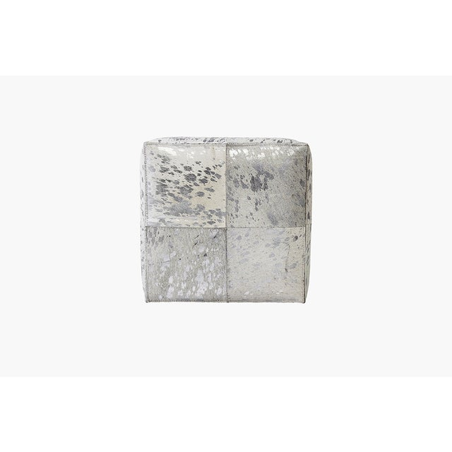 Forest Collection Cowhide Silver Ottoman - Image 2 of 5