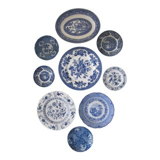 Blue & White English and Japanese Plates - Set of 9 For Sale