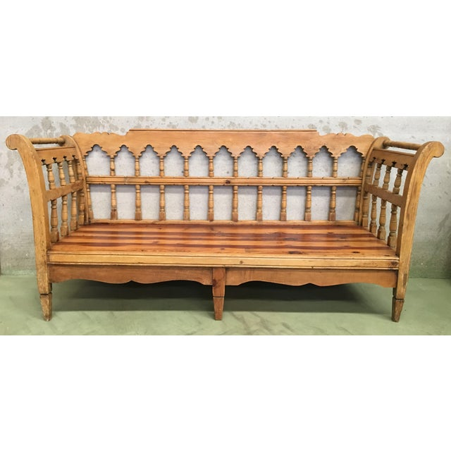 About Large rustic Swedish pine bench / daybed, circa 1850. Very heavy item. Ideal for a summer house or garden room....