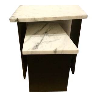 Bungalow 5 Carrara Marble Lynnes Side Tables Set of Two For Sale