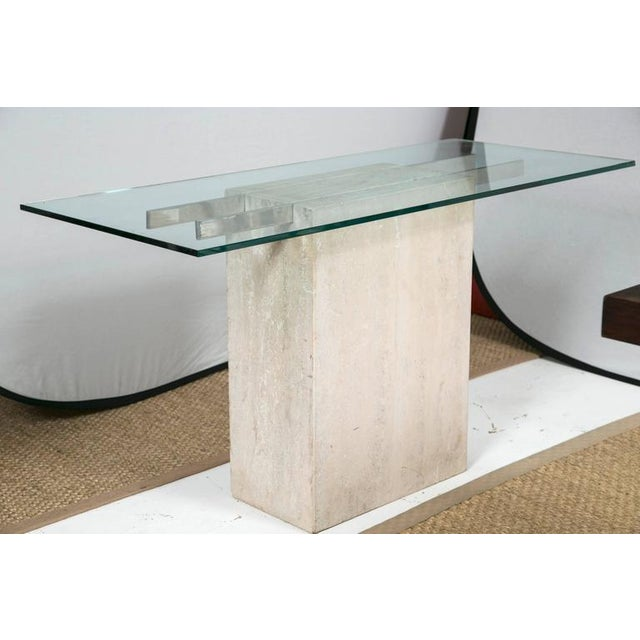 Travertine and Chrome Console Table by Ello Furniture - Image 2 of 8