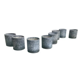 Set of Eight Lead Planters