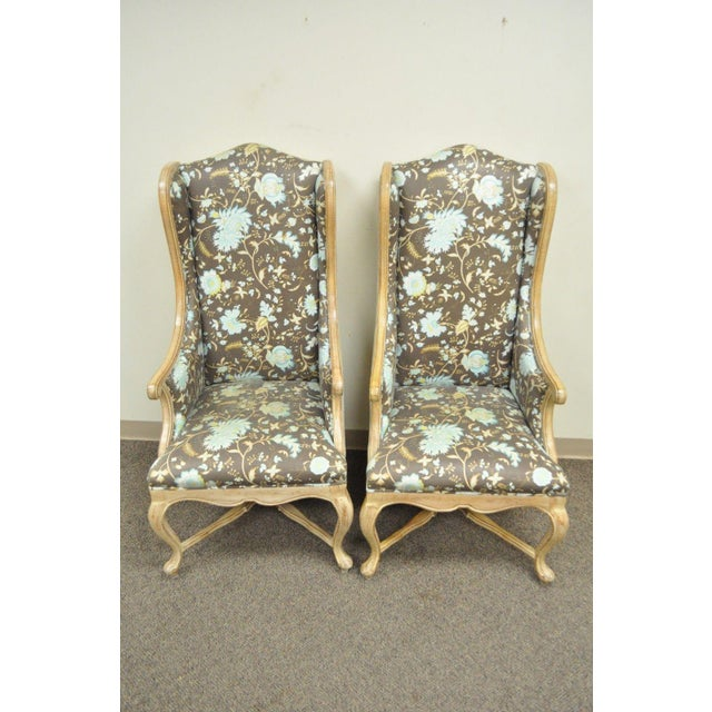 Pair of Hollywood Regency French Country Carved Wing Back Fireside Lounge Chairs - Image 2 of 11