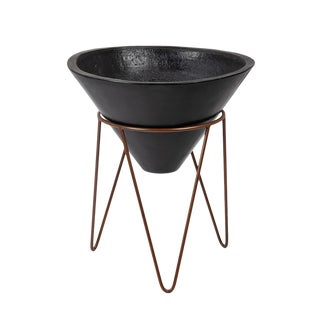 Black Stone Planter on Stand For Sale