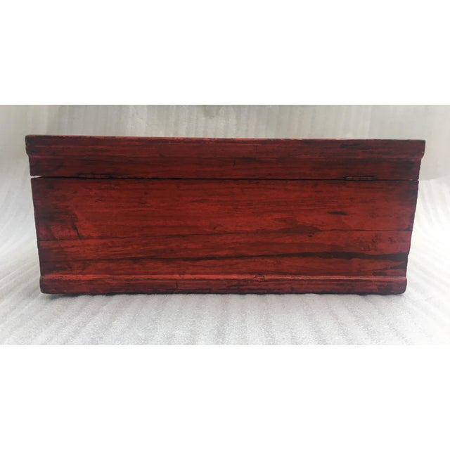 Red Antique Chinese Red Lacquer Box For Sale - Image 8 of 11