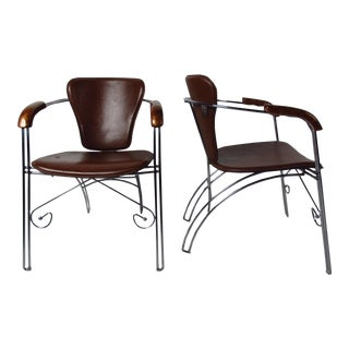 Mid-Century Modern Leather and Chrome Chairs For Sale