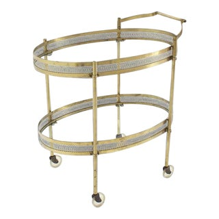 Vintage Mid-Century Pierced Brass & Glass Two-Tier Serving Cart For Sale