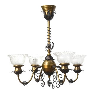 Four Light Brass and Wrought Iron Early Electric Fixture