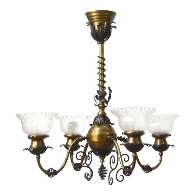 Four Light Brass and Wrought Iron Early Electric Fixture For Sale