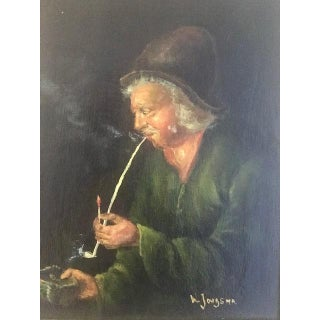 Antique Oil on Wood Painting by W. Jongsma For Sale
