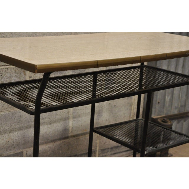 Vintage Mid-Century Modern Wrought Iron & Metal Mesh Small Writing Desk Work Table For Sale - Image 4 of 12