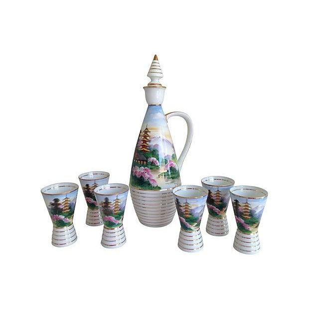 Midcentury Porcelain Sake Set - 8 Pieces - Image 2 of 7