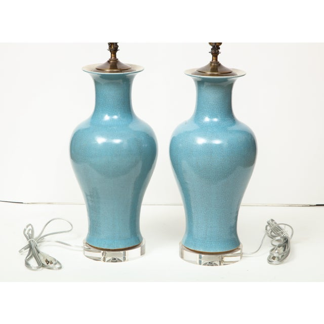 Crackle Glazed Blue Vase Lamps - A Pair For Sale - Image 12 of 13