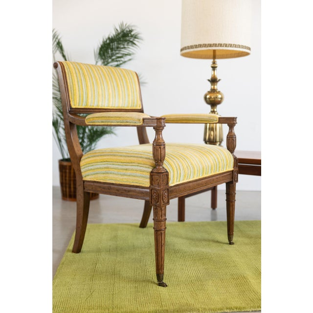 Mid-Century Modern Mid-Century Walnut and Striped Upholstered Drexel Chair For Sale - Image 3 of 10
