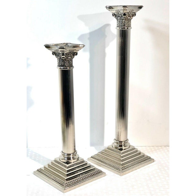 Godinger Corinthian Column Silverplated Candle Holders - a Pair For Sale - Image 10 of 10