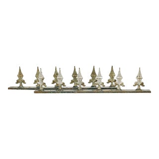Cast Iron Fleur-De-Lis Fence Spikes- a Pair For Sale