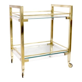 Pasargad Home Baylor 2-Shelf Lucite & Stainless Steel Serving Cart For Sale